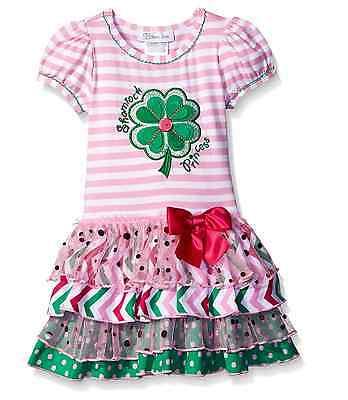 Bonnie Jean Girls Shamrock Green Clover Princess St Patrick Pink Dress 2T 3T 4T
