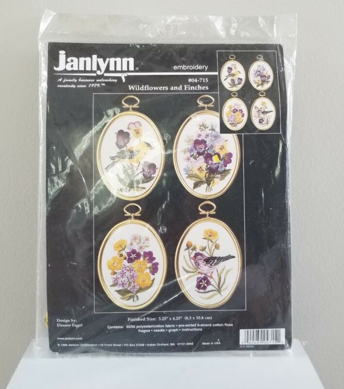 Embroidery Kit Wildflowers and Finches Janlynn 4 Designs w Frames Vintage 1998