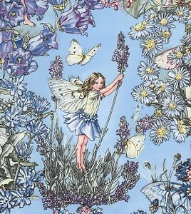 Cicely Mary Barker Flower Fairies Characters on Periwinkle Blue Fabric - FQ
