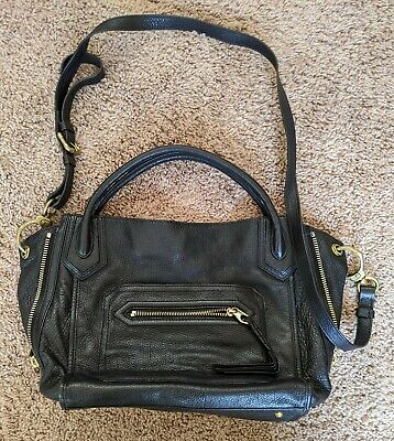 Oryany Black Leather Satchel Handbag