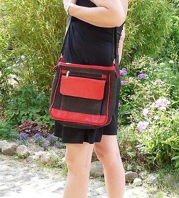 Handgefertigte Rote Tasche (Neu Unikat handgefertigte Ledertasche Handtasche  Umhängetasche schwarz rot )