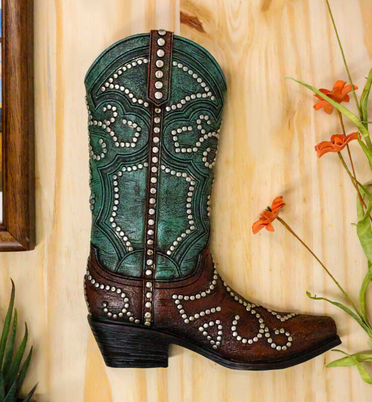 Ebros Rustic Western Teal Faux Tooled Leather W/ Nailheads Cowgirl Boot Decor