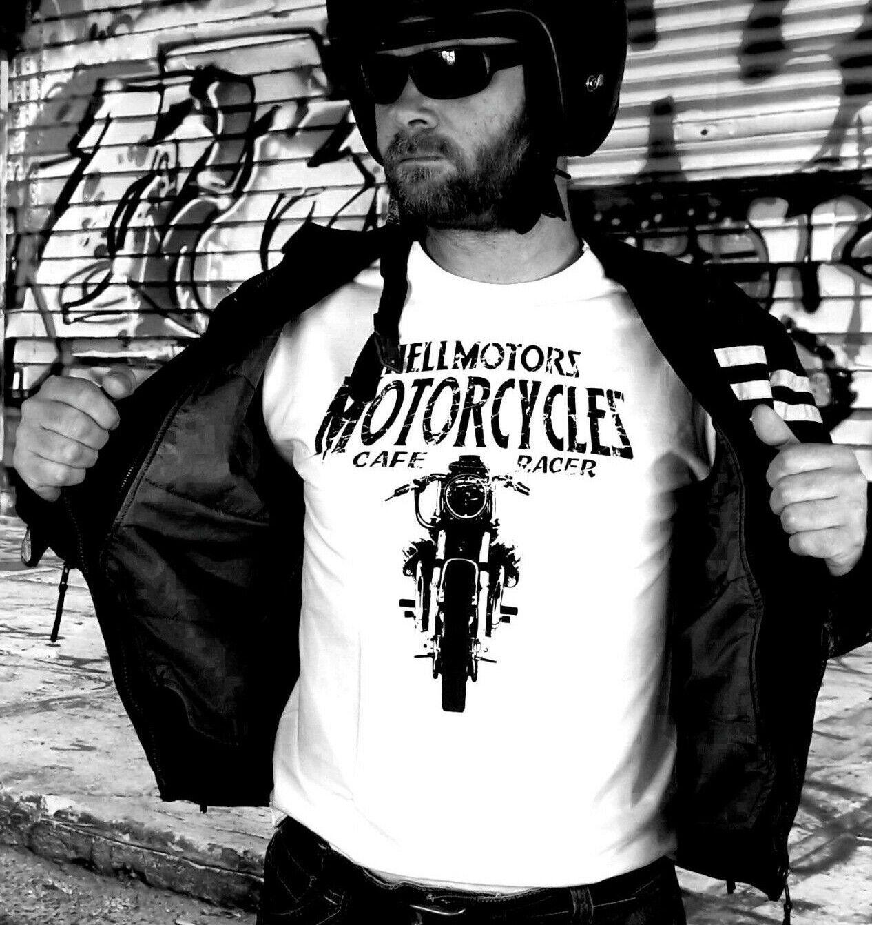 Biker Cafe Racer Herren T-Shirt Moto Guzzi Motorrad Chopper Rocker Oldschool