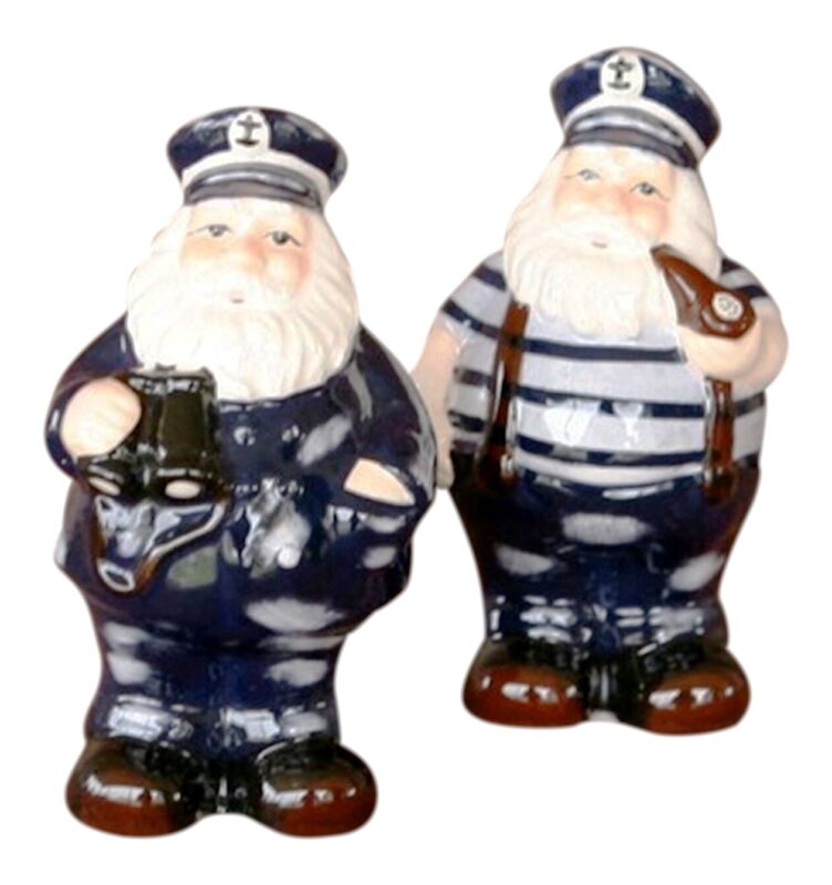 Nautical Ship Boat Captain Salt and Pepper Shakers Ceramic