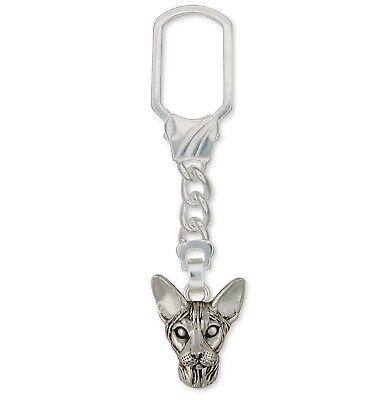 Sphynx Cat Key Ring Jewelry Sterling Silver Handmade Cat Key Ring SX5-KRE ()