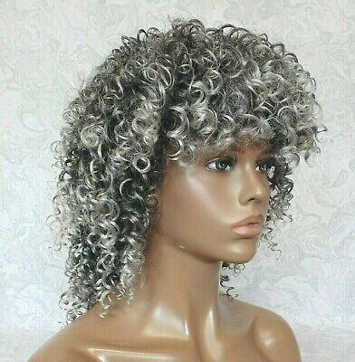 Short Grey Silver Afro, High Heat Ok, Full Synthetic Wig - 707 - Silver Afro Wig