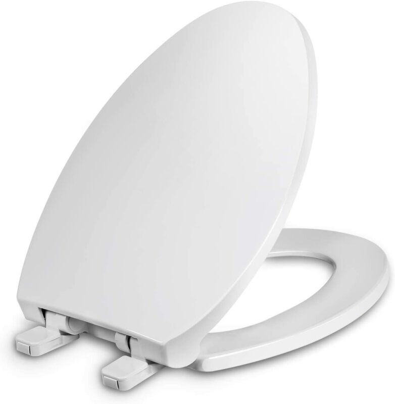 Slow Close Toilet Seat No Slamming Elongated Round Closed Front Seat Lid Cover