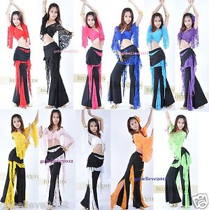 Brand-New-Sexy-Belly-Dance-Costume-Set-Top-Pants-11-Colors-Free-Shipping