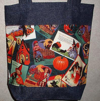 NEW Medium Classic Halloween Post Cards Denim Treat Tote Bag - Post Halloween Blues