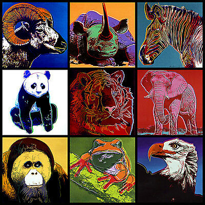Andy Warhol Canvas 9 Endangered Species 17 x 17