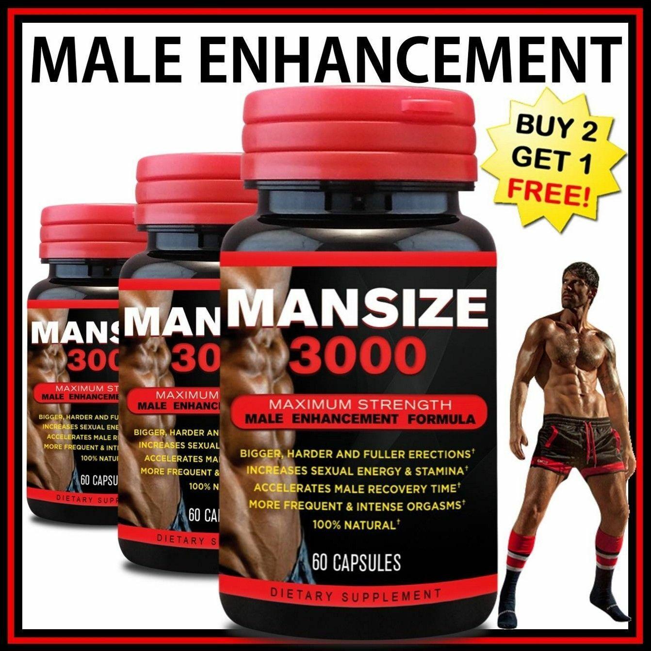 MANSIZE 3000 Thicker Wider Longer Maximum Penis Enlargement Enhancement Pills