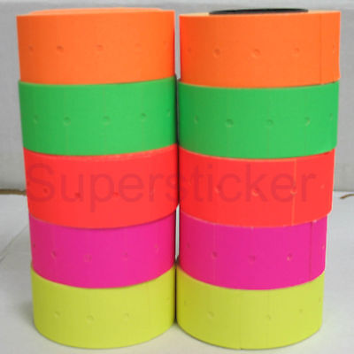 5 colors 2 Rolls X 500 Tags labels Refill for Motex MX-L-5500 MX989 Price - Price Gun Labels