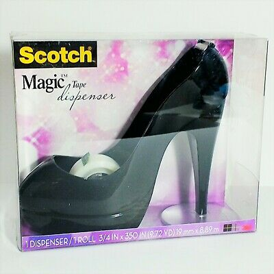 Tape Dispenser With Tape Roll Scotch Magic Stylish Black High Heel Stiletto New