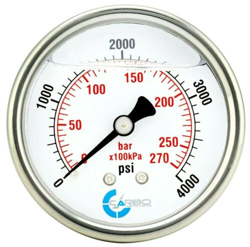 "2-1/2"" Pressure Gauge, ALL STAINLESS STEEL, Liquid Filled, Back Mnt, 4000 Psi"