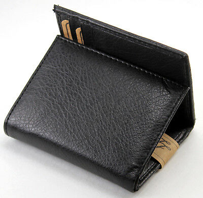 New Mens Trifold Genuine Leather Black Wallet Credit Card Case Window ID Holder