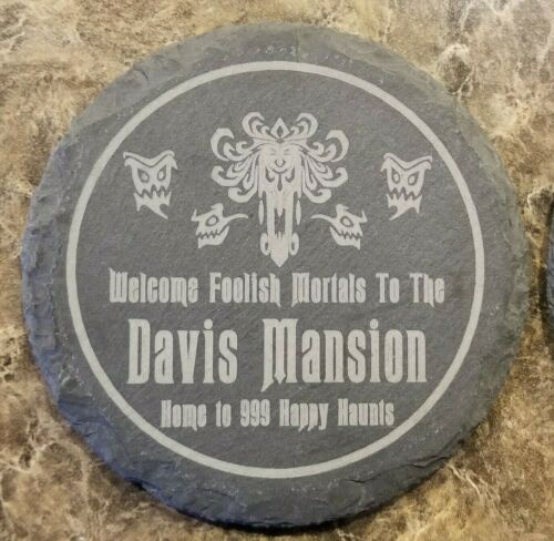 Personalized Haunted Mansion Welcome Foolish Mortals Inspired Drink Coaster Set