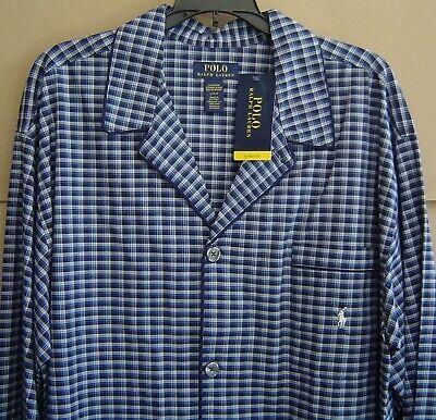 NWT $88 POLO RALPH LAUREN Men L STRETCH COTTON Pajama Set Top + Pants NAVY PLAID