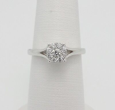 Zales 1 4Ct Diamond Solitaire Engagement Wedding Ring 10K White Gold