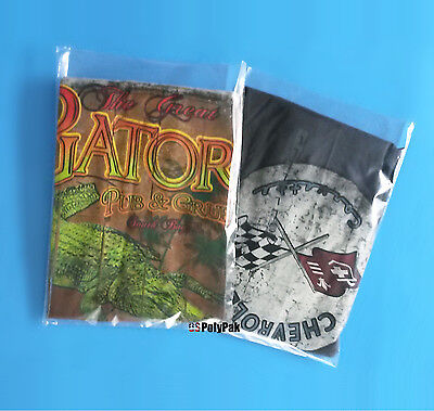 200 10x12 Clear Poly Bags 1mil Plastic For T-shirt Open Top Apparel Baggies