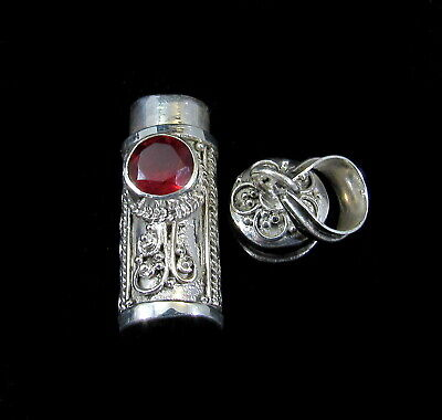 Handmade 925 Sterling Silver Poison/Pill/Prayer/Snuff Box Pendant Garnet - Handmade Prayer Box Pendant