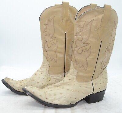 Beige Ostrich - Vtg Beige Mens Sz 29.5 Ostrich Skin Leather Western Cowboy Sleek Boots