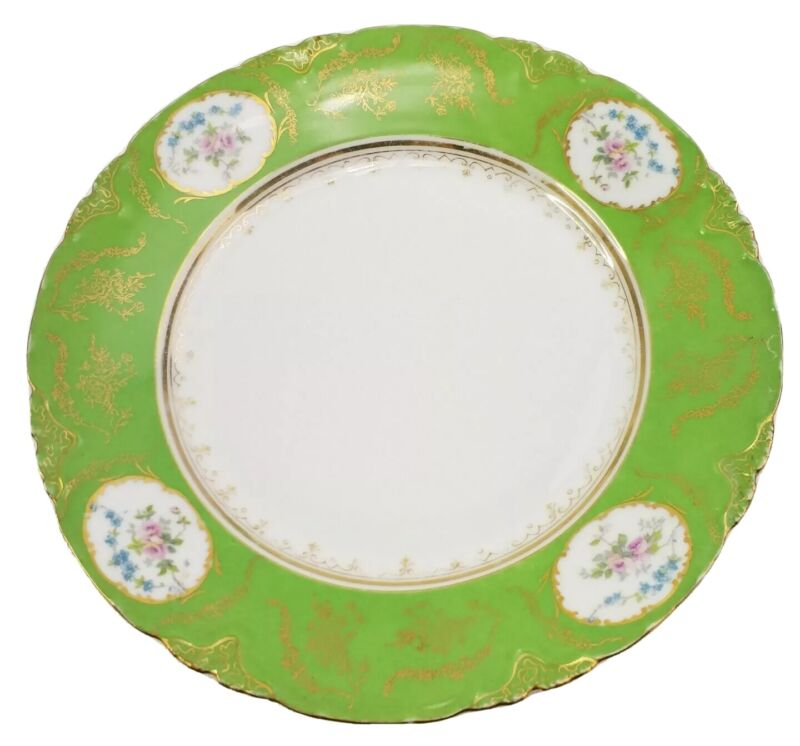 """LS&S Carlsbad Austria 9.5"""" Plate Green Gold Trim and Ring Floral"""