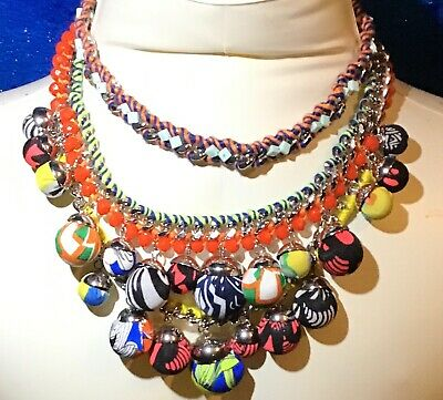 Large Statement Beautiful Colorful Balls Necklace Signed Zara