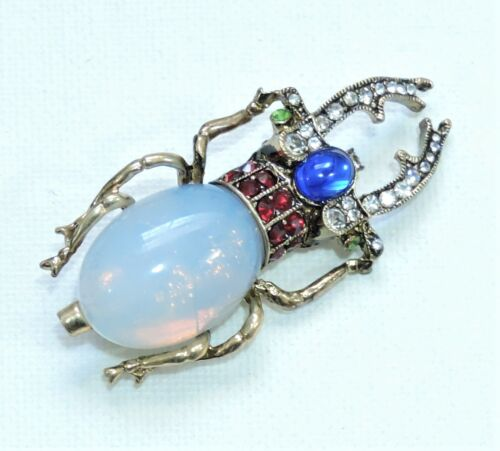 Rhinestone Jeweled Staghorn Beetle Bug Insect Brooch Pin JL191008