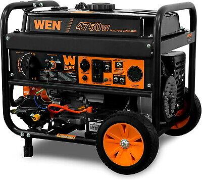 Wen 4750-w Portable Dual Fuel Gas Powered Generator Gasoline Electric Start New