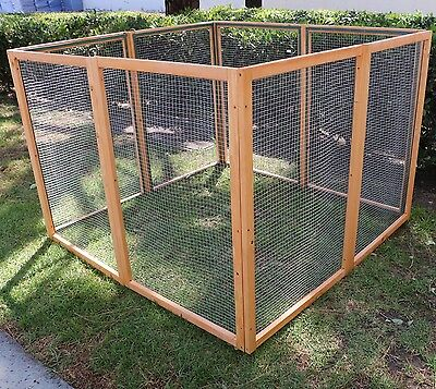 Dog Gate Chicken Coop Rabbit Bunny Hutch Hen House Pet Exercise Pen Fence W/Run