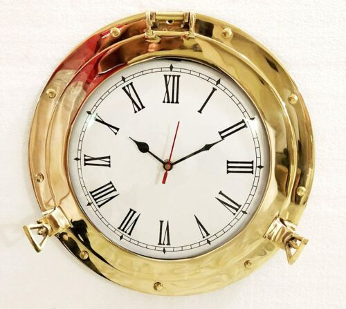 "12"" Antique Marine Brass Ship Porthole Analog Clock Nautical Wall Clock Home"