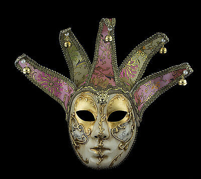 Mask from Venice Volto Jolly Golden Pink IN 5 Spikes -disguise - 2191 TG2