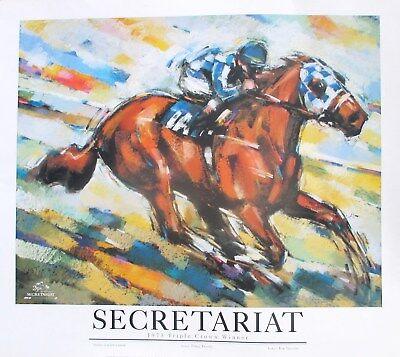 SECRETARIAT PRINT / POSTER. 1998 25TH ANNIVERSARY OF TRIPLE CROWN WIN.  LUSTYK