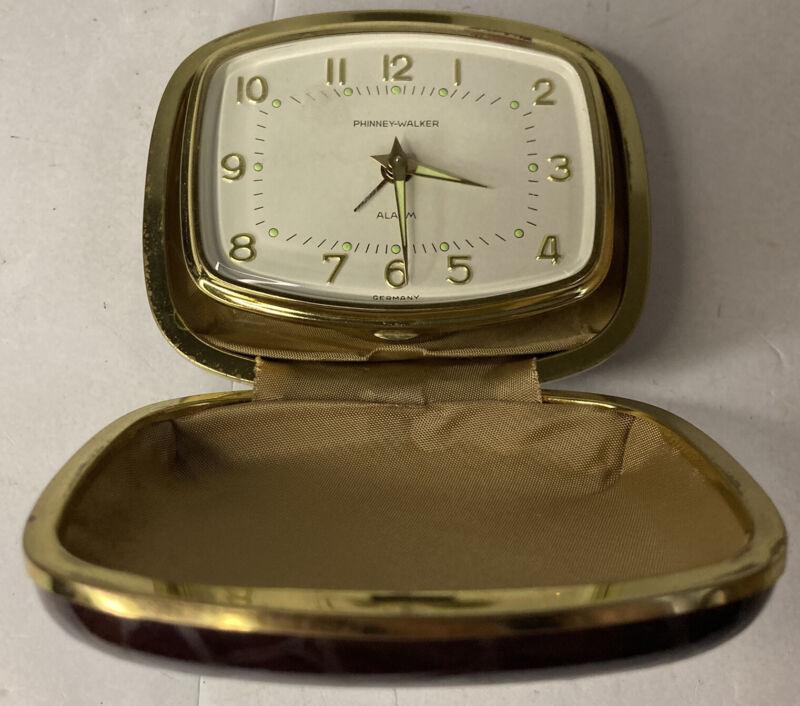 Vintage PHINNEY-WALKER Travel Alarm Clock Gold Oval Face Germany Brown Alligator