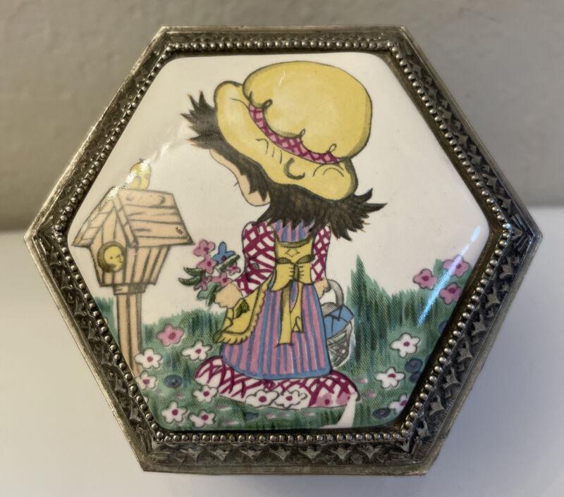 Vintage Trinket Box ~ Metal w/ Enamel Lid & Feet Made In Japan Holly Hobby Style