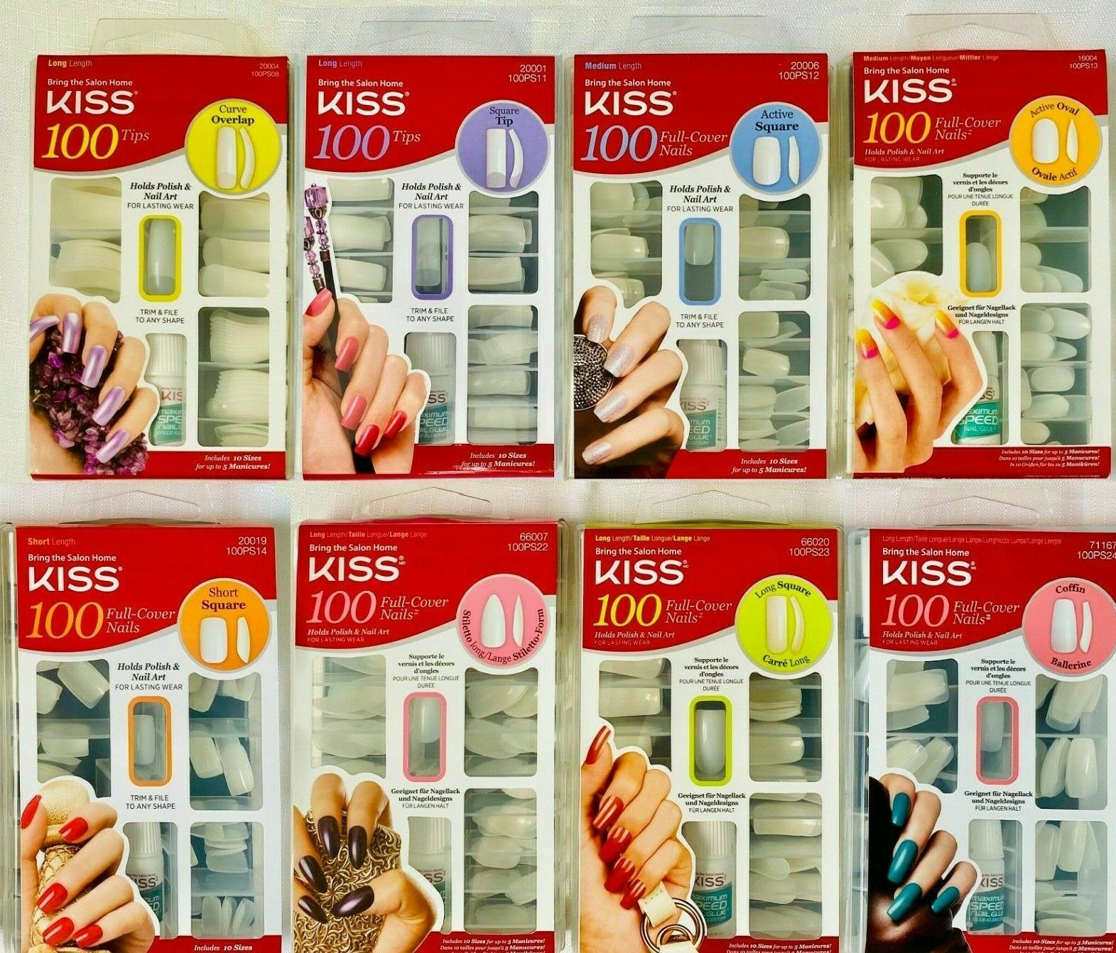 Kiss Salon 100 Full Cover Nail Glue Manicure Kit Overlap Square Oval Coffin NEW - $9.99