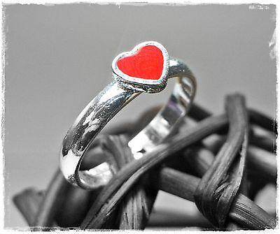 Neu RING KINDERRING mit einem HERZ in rot/silber GRÖßENVERSTELLBAR