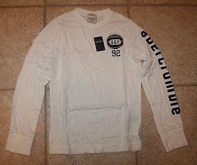 Abercrombie Boys Medium White Lookout Mountain Basketball Ls Shirt Last One