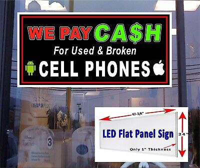 We Pay Cash For Used Broken Cell Phones 48x24 Led Illuminated Window Sign