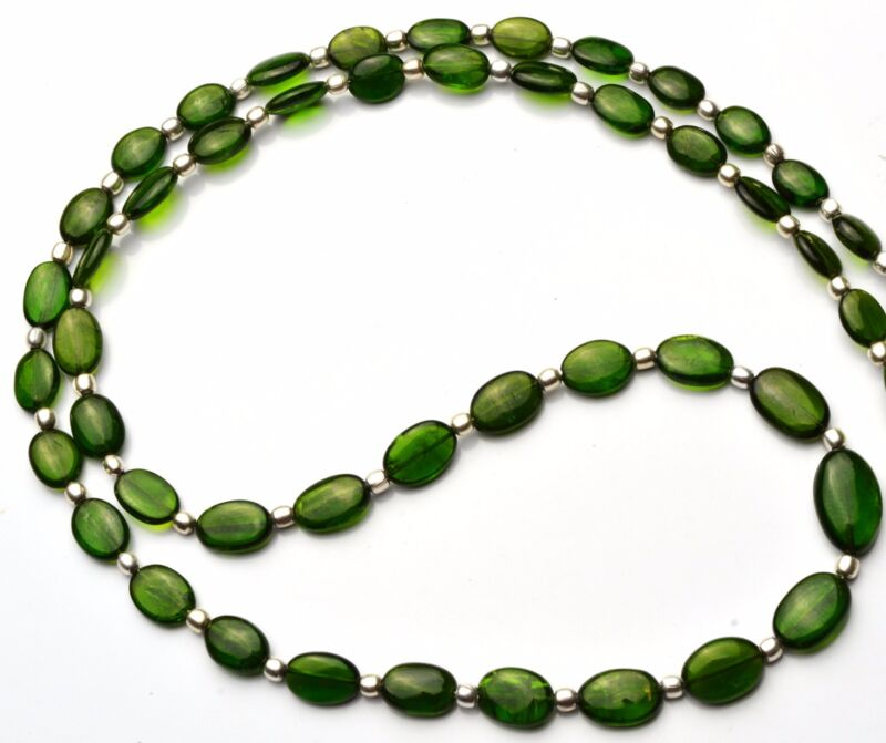 """SUPER TOP QUALITY RUSSIAN GEM CHROME DIOPSIDE SMOOTH NUGGET BEADS NECKLACE 21"""""""