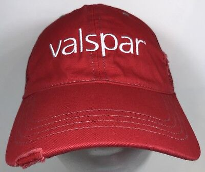 Valspar Official Paint Hat Lowe's Distressed Cap Strapback Trucker Red, used for sale  Shipping to Canada