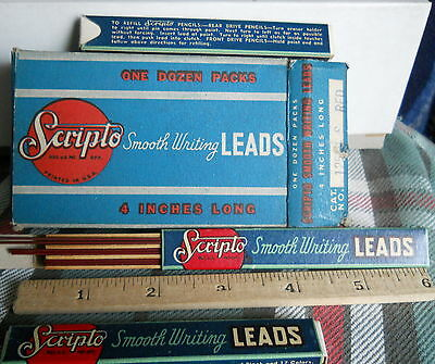 Vintage Scripto 4  Leads For Mechanical Pencils  Red 12 Leads Per Box