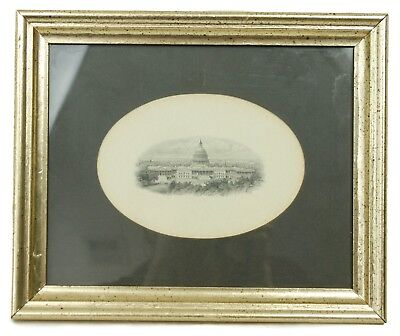 Gold Framed B&W Capital Building Northeast View Steel Engraving Oval Print