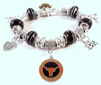Ncaa Texas Longhorns Glass Football (TEXAS LONGHORNS NCAA Licensed Charm Silver Euro Bracelet FOOTBALL GLASS)