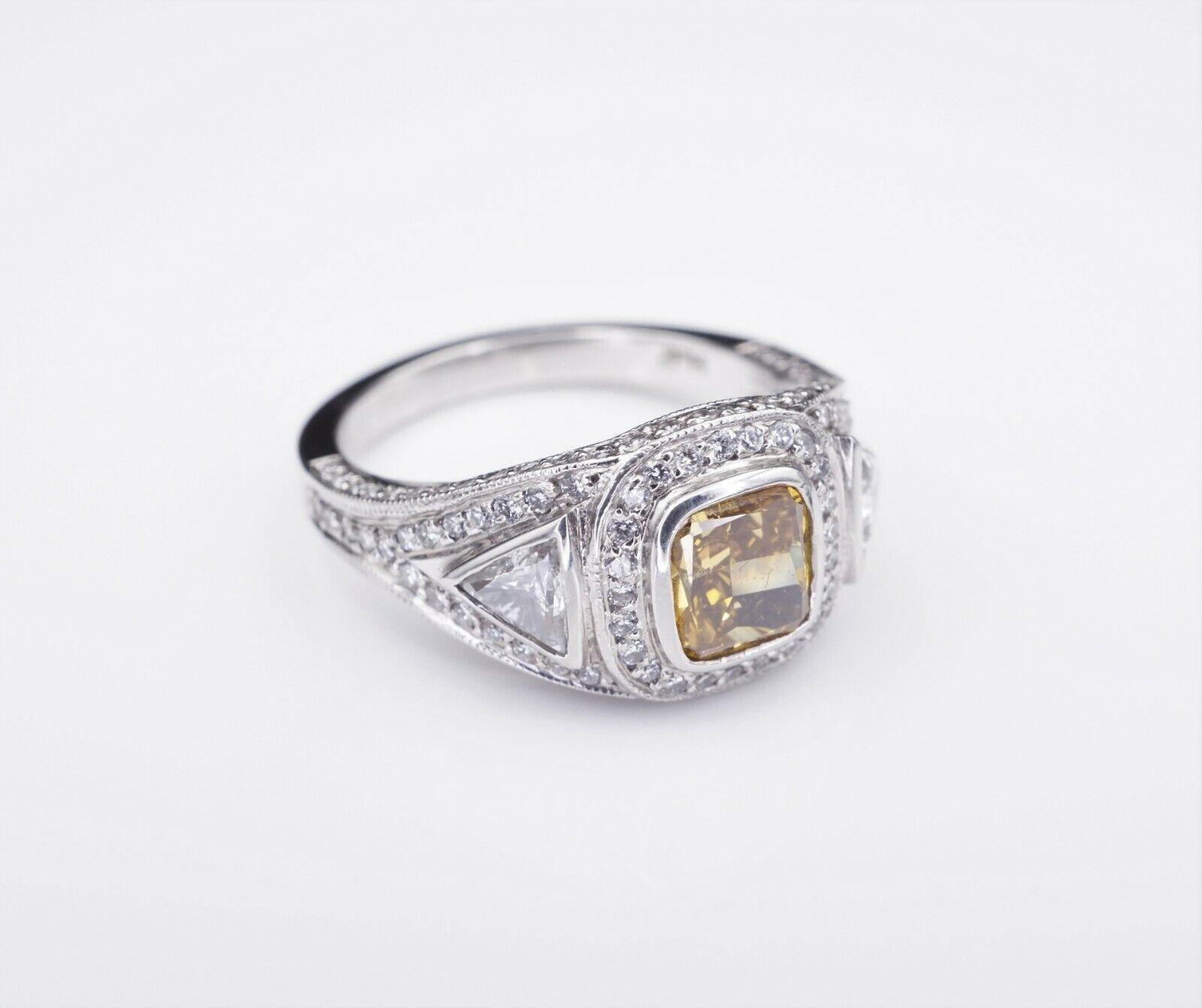 Platinum 3ct Orange-Yellow Diamond Halo Engagement Ring Size 6.75 GIA CO450 3