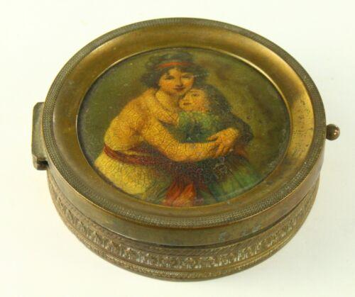 ! Antique c.1800 Gilt Brass & Silk Hand Painted Ladies Compact Vanity Powder Box