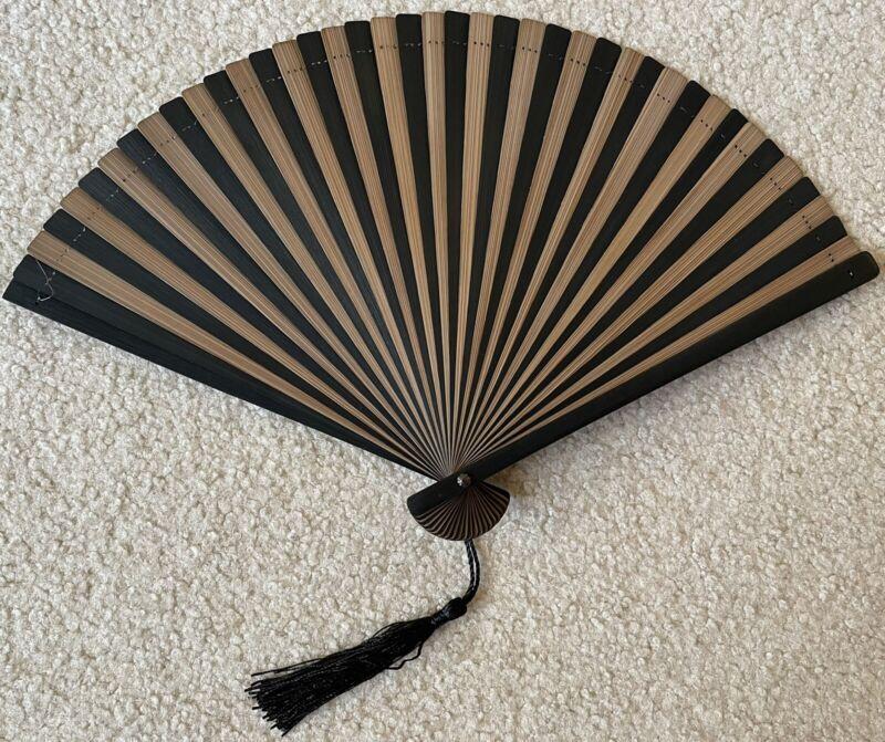 Black & Brown Bamboo Hand Held Folding Wedding Fan w/ Nylon Fan Bag