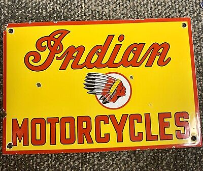Vintage Style Indian Motorcycles Porcelain Pump Plate