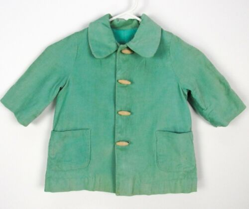 Vintage 60s Seafoam Green Corduroy Jacket Kids Toddler 4T Wood Toggle Buttons