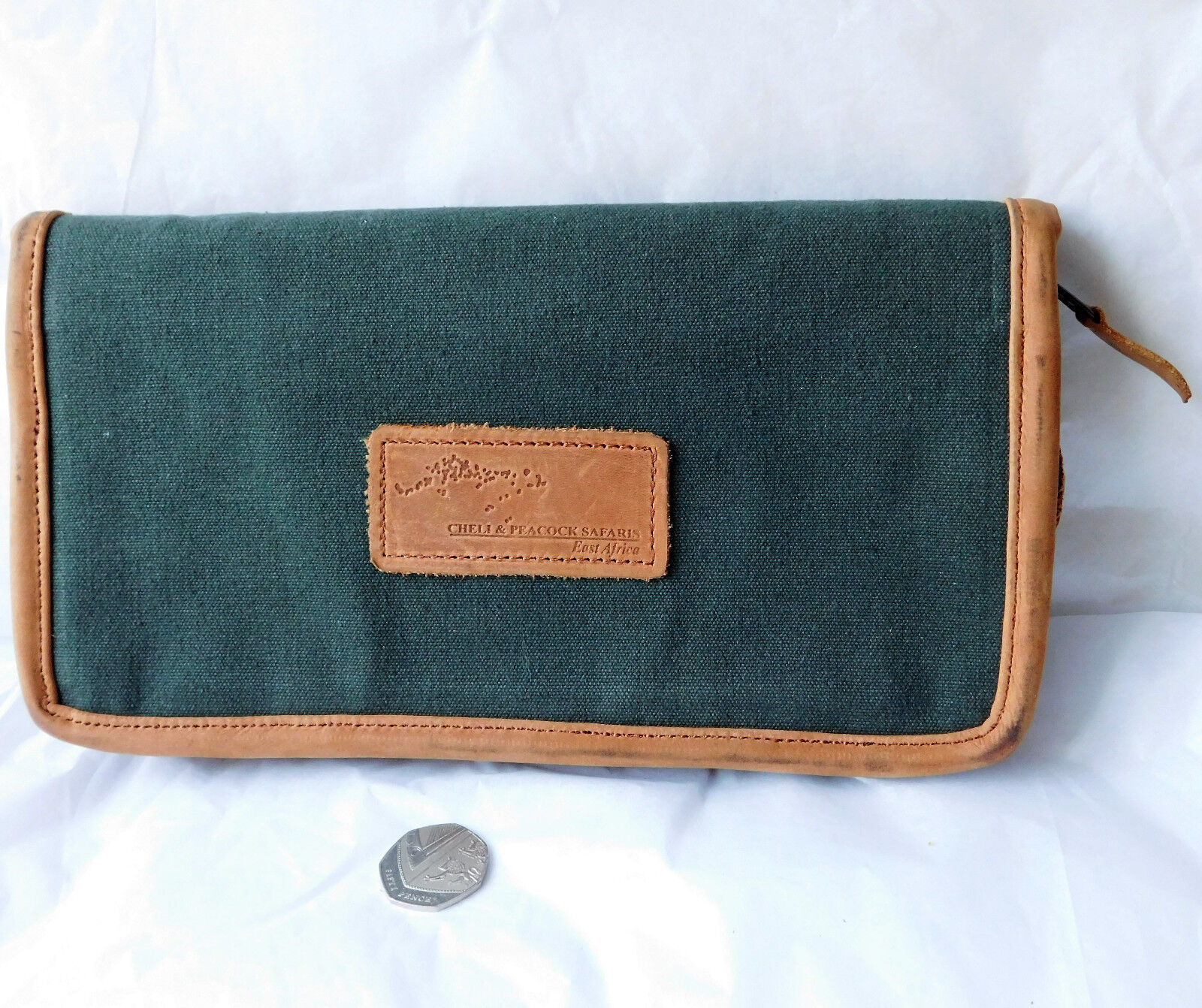 Vintage travel wallet canvas suede document holder Cheli Peacock Safari Africa